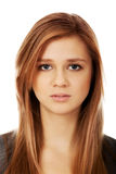 Sad or worried teenage pretty woman Royalty Free Stock Photos