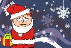 Sad Xmas santa kid cartoon expression postal Royalty Free Stock Photos