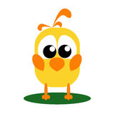 Sad Yellow Bird. Funny cartoon yellow bird staying. She is very sad Royalty Free Stock Images