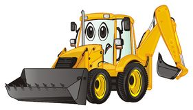 Sad yellow excavator. Un happy yellow excavator stand Royalty Free Stock Image