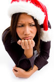 Sad young asian professional with christmas hat Royalty Free Stock Image