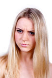 Sad young blond woman Royalty Free Stock Photos