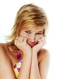 Sad young blonde Stock Images