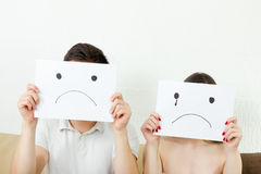 Sad young couple, young couple in despair Royalty Free Stock Photo