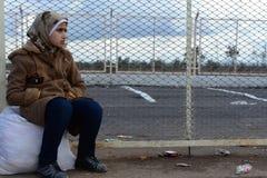 Sad young girl - refugee stock photos