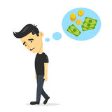 Sad young guy without work dreaming, thinks about money. vector flat cartoon man character design illustration. Isolated on white. Background. unemployment royalty free illustration