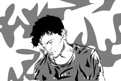 A sad young man. Black and white palette royalty free illustration