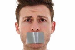Sad young man censored Stock Image