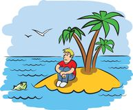 Sad young man on a desert island. Vector illustration Stock Photography