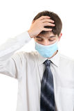 Sad Young Man in Flu Mask Stock Photography