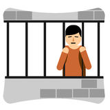 Sad Young Man in Jail. Illustration of a jailed prisoner stock illustration