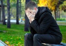 Sad Young Man outdoor Stock Image