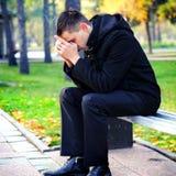 Sad Young Man outdoor Stock Photography