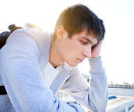 Sad Young Man outdoor. Sad Young Man Portrait at the Summer Day Royalty Free Stock Photos