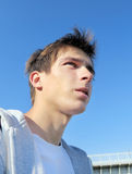 Sad Young Man outdoor. Sad Young Man Portrait at the Summer Day royalty free stock photography