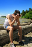 Sad Young Man outdoor Royalty Free Stock Image