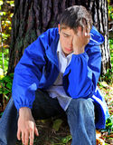 Sad Young Man outdoor Royalty Free Stock Images