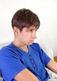 Sad Young Man. Portrait at the Home royalty free stock images