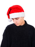Sad Young Man in Santa Hat Royalty Free Stock Image