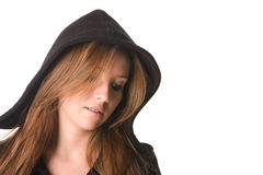 Sad young woman. Looking down Stock Photo