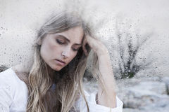 Sad young woman royalty free stock images