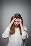 Sad woman. Sad young woman. Expressions, feelings and moods. Sorrow stock images