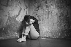 Sad young woman Stock Photos