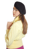 Sad Young Woman In A Beret Royalty Free Stock Photo