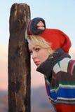 Sad young woman outdoor Royalty Free Stock Photos