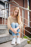 Sad young woman Stock Images