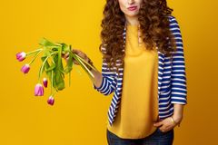 Sad young woman on yellow background holding wilted flowers. Sad young woman in striped jacket on yellow background holding wilted flowers Royalty Free Stock Photos