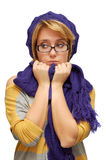 Sad young woman in violet beret Stock Image