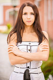 Sad young woman in white dress Royalty Free Stock Photography