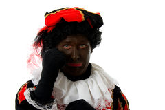 Sad Zwarte Piet ( black pete) typical dutch Stock Images