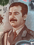 Saddam Hussein-Porträt auf 25 der Irak-Banknotendinaren des Makro-, Geld Lizenzfreie Stockbilder