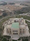 Saddam Hussein ` s deserterade slotten i Babylon i Irak som sågs från luft arkivbild