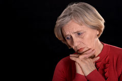 Saddest older woman Stock Images