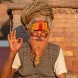 Saddhu con i dreadlocks di rasta, tempio di Pashupatinath immagini stock libere da diritti