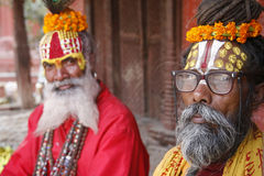 Saddhu dans le grand dos durbar, Katmandou Photo stock