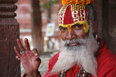 Saddhu in durbar square, kathmandu Stock Photography