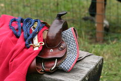 Saddle. Riding saddle for little pony Royalty Free Stock Image