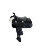 Saddle. Made of heavy black leather for riding domestic horses stock photo