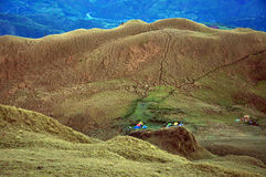 The saddle camp at Mt. Pulag, Benguet Province, Philippines. Below is the saddle campsite of Mt. Pulag in the Akiki trail. It is 15 minutes away from the summit Royalty Free Stock Photography