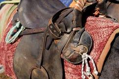 Saddle on a donkey. Royalty Free Stock Photos