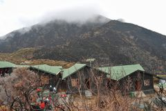 Saddle Hut in Mount Meru, Tanzania. Miriakamba Hut against the background of Mount Meru, Arusha National Park, Tanzania stock photos