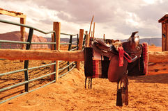 Navajo Horse Saddles. Saddle Indian Navajo in reserve royalty free stock image