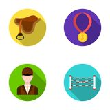 Saddle, medal, champion, winner .Hippodrome and horse set collection icons in flat style vector symbol stock Royalty Free Stock Images