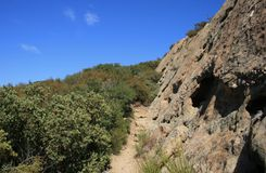 Saddle Peak Geology 2. Sandstone geology on Saddle Peak, Malibu, California Royalty Free Stock Photos