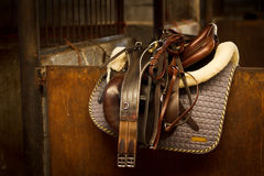 Horse riding Tack in stable Royalty Free Stock Photos