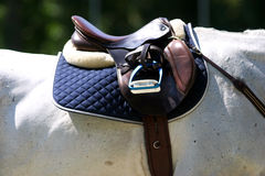 Saddle with stirrups on a back of a sporting show jumper horse Stock Photography